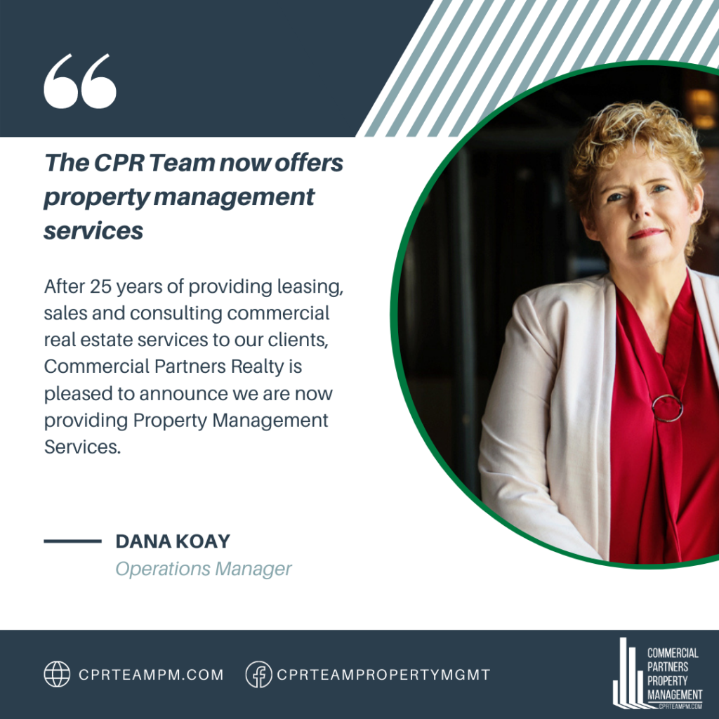 Operations manager, Dana Koay, announces Commercial Partners Realty launch of property management division.